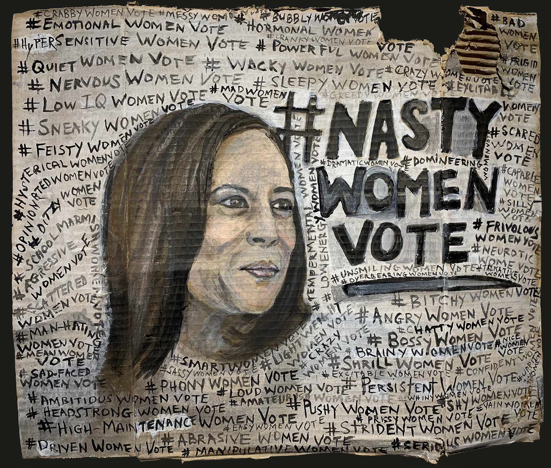 1 Nasty Women Vote 2020 acrylic gouache and sumi-e ink on post-consumer waste 18 x 20.75in