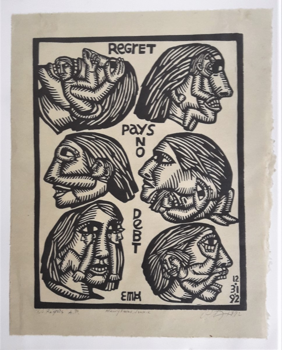 1 No Regrets 1992 Linocut print 15.5 x 12 in