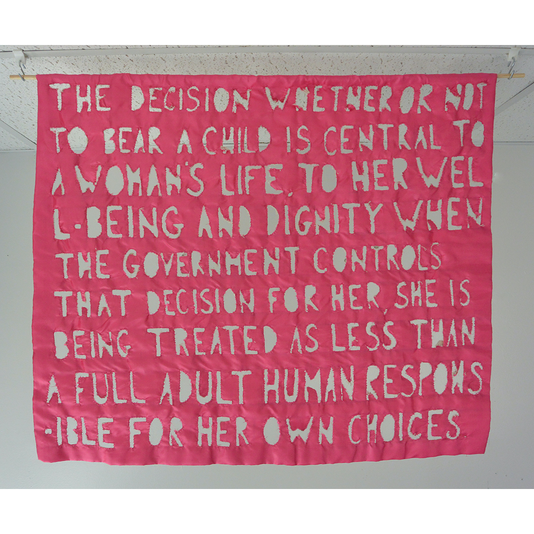 2 Quote From Ruth Bader Ginsburg 2019 canvas, fabric, thread, wood and yarn 62 x 34 x 1in