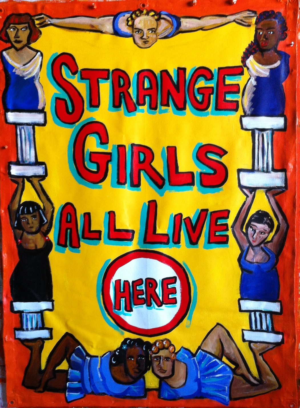 2 STRANGE GIRLS 2015 Acrylic on Canvas 4 x 3ft
