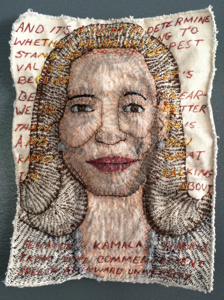 3 Kamala Harris We Are Better Than This 2017 canvas, thread and stuffing 11 x 8in