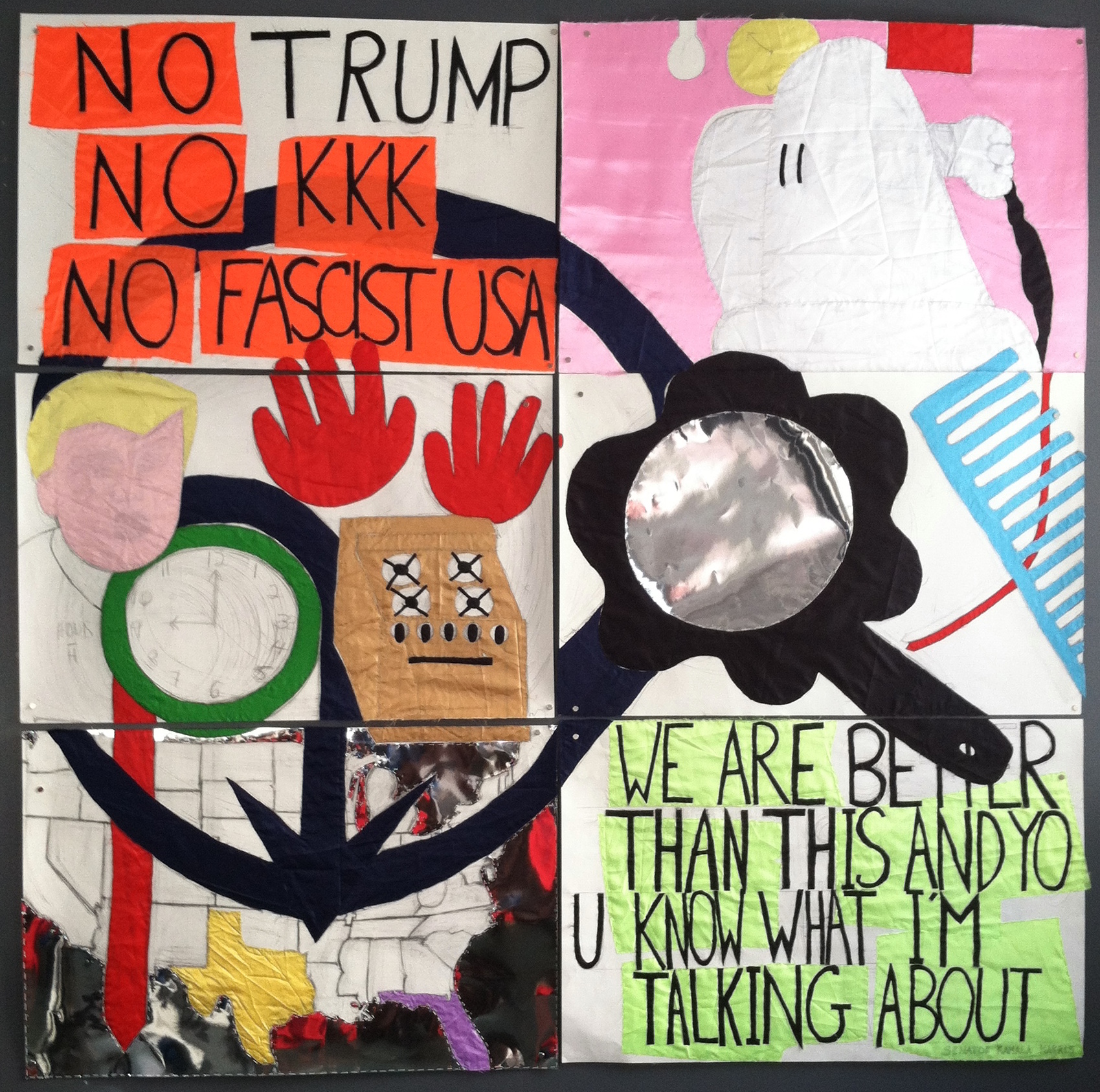 4 No Trump 2017 pencil, fabric,paper,thread on paper 78 x 80in